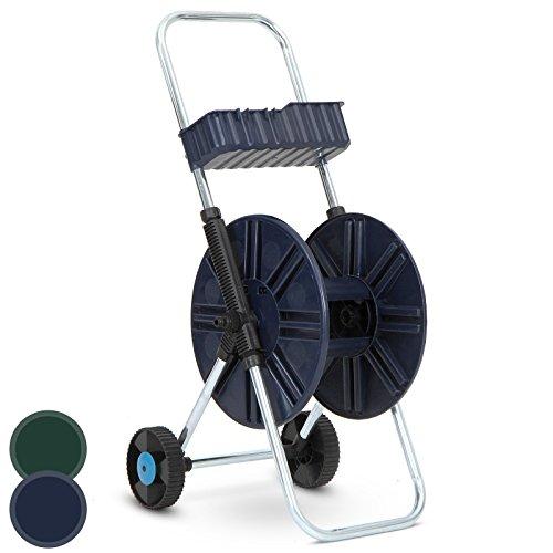 """Preisvergleich Produktbild Jago Gartenschlauchwagen Schlauchaufroller Schlauchhalter Schlauchtrommel in Blau oder Grün 60 m - 1 / 2"""""""