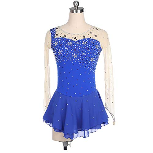XIAOY Eiskunstlauf Kleid für Wettbewerb Mädchen Frauen Eislaufen Leistung Kostüm Langärmelig,Blue,XXL