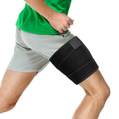 Oberschenkelbandage mit Anti-Rutsch-Streifen, Verstellbar Kompressions Bandage für Übung, Verletzungen, Sehnenentzündung, Erholung, Nicht Leicht zu Schieben Passend für Männer und Frauen