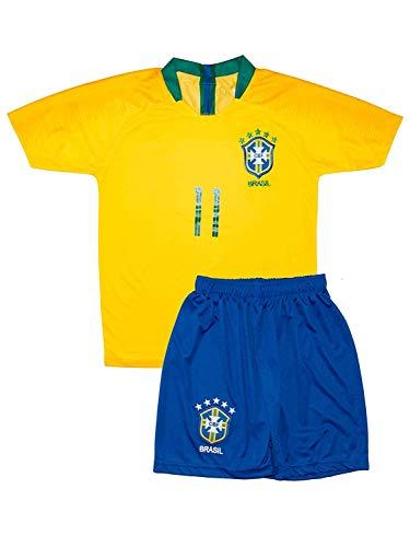 Brasilien Coutinho #11 2018 Heim Trikot und Shorts mit Socken Kinder und Jugend Größe