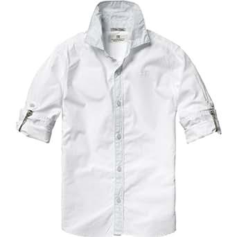 Scotch & Soda Shrunk Jungen Hemd 13410120500 - Basic crispy poplin shirt, Gr. 128 (8), Mehrfarbig (00 - white)