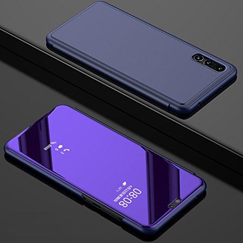 Huawei P20 Lite Hülle Lila,Huawei P20 Lite Hülle,BtDuck Slim Spiegel Lederhülle Handyhülle Stand...
