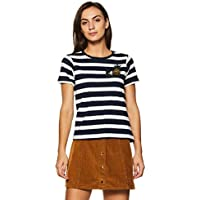 Unshackled Women's Striped T-Shirt (US297-Navy-XS)