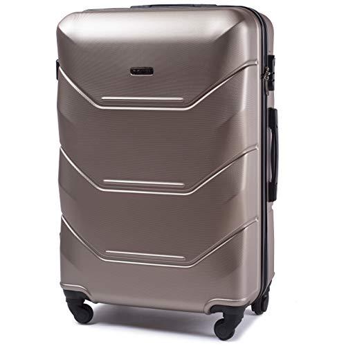 VINCI LUGGAGE Geräumiger Kabinentrolley - Leichter Flugzeugkoffer - Luxuriöser und moderner Koffer mit zweistufigen Teleskopgriff und Kombinationsschloss (Champagne, L (78x49x29)) -