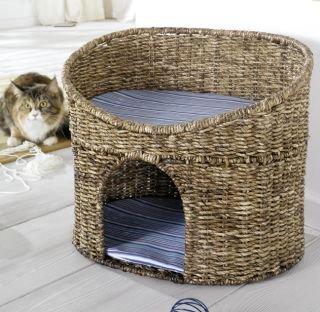 Katzenhöhle Korb mit Kissen geeignet für kleine Katzen -