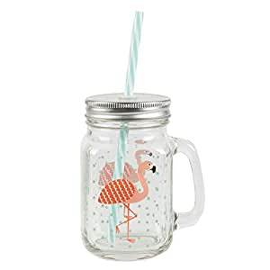 Sass & Belle Tropical Flamingo - Mason Drinking Jar - Trinkglas mit Schraubdeckel & Stohhalm - Flamingo