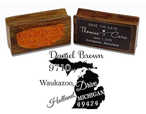 Printtoo Runde kundenspezifische Adressen-Return Stempel Holz Mounted Michigan State Map Personalisierte Stamper -