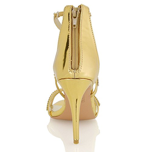 Essex Glam Frauen synthetischen Hoch Stiletto Diamante Sandalen Gold Metallisch