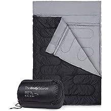 Doble Saco de dormir - tamaño Extra grande - Queen - Convierte en 2 singles - 3 temporada para Camping, Senderismo, al aire libre