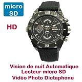 Montre Mini Caméra Cachée Espion HD 1280x720 à lecteur de micro SD Vision Nocturne automatique Cyber K DV69
