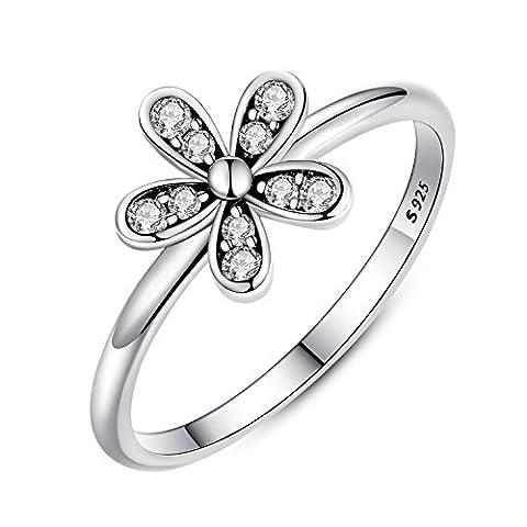 Presentski 925 sterling argent marguerite fleur anneau pour les filles cadeau d'anniversaire