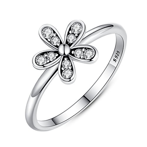 Presentski auténtica plata de ley 925 margarita flor anillo para las niñas y las mujeres