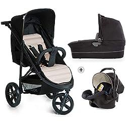 Hauck Rapid 3 Plus Trio Set - Conjunto de carro con capazo, silla deportiva y Grupo 0+ para recién nacidos hasta bebes/niños de 15 kg, 3 ruedas desmontables, sistema Easy Fix, color negro y beige