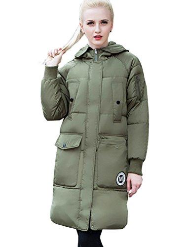 MatchLife Femme Manteau Trench Parka Hiver avec Capuche Blousons Style4-Vert