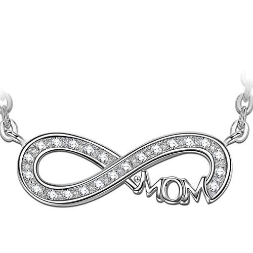 Angel nina regalo per la festa della mamma donna gioielli amore infinito per la mamma collana pendente incisa in privo di allergeni argento sterlina 925 cubo zirconia regalo festa della mamma madre