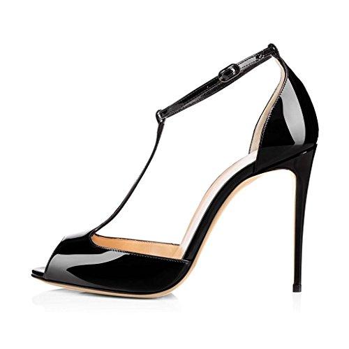 EDEFS Damen Peep Toe Pumps High Heel 12cm Stiletto Absatz Knöchelriemchen Schuhe Schwarz