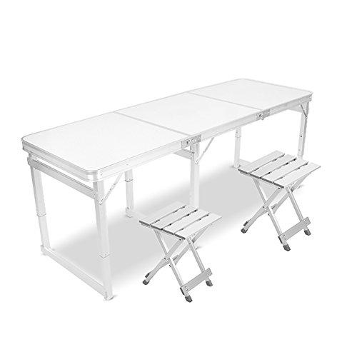 Table pliante Table/chaise pliante carrée - 6 pieds avec poignée et hauteur réglable - pieds en aluminium - table pliante lourde de camping - table d'ordinateur
