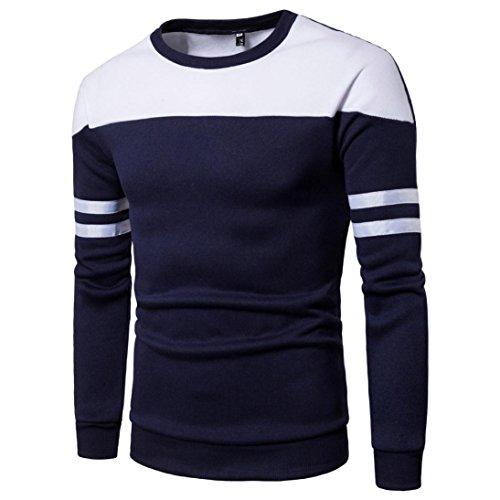 Manadlian Frühling Herbst Winter Mode Männer Langarm Patchwork Pullover Sweatshirt Oberteile Abschlag Outwear Bluse (L, Marine) (Glauben T-shirt Wert)