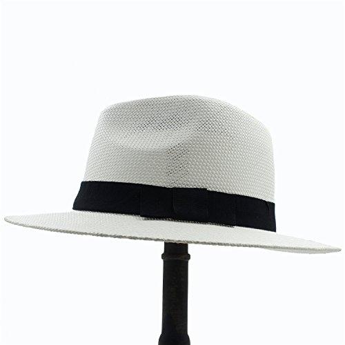 XIEWEICHAO Frauen Spreu Panama Sonnenhut Für Raffinierte Dame Gentleman Gangster Trilby Fedora Beach Dad Cap (Farbe : 1, Größe : 56cm-59cm)