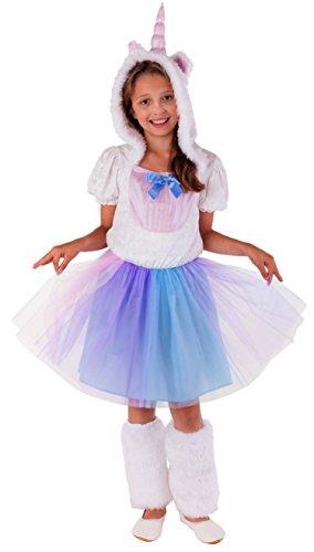 Magicoo Einhorn Prinzessin Kostüm für Kinder - komplettes Einhorn Kostüm für Mädchen - Einhorn Kleid (128/134)