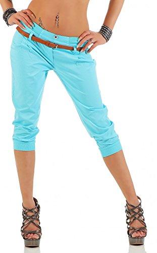 Danaest Damen Capri Hose inkl. Gürtel (624), Farbe:Hell Blau, Grösse:XXL/44