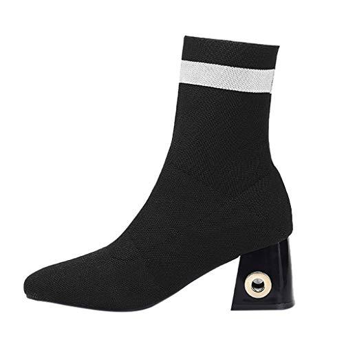 OYSOHE Stiefel Damen elastische Socken Schuhe High Heel Quadratischer Absatz Stiefel Rutschfeste Ankle Stiefeletten(Schwarz,36 EU)