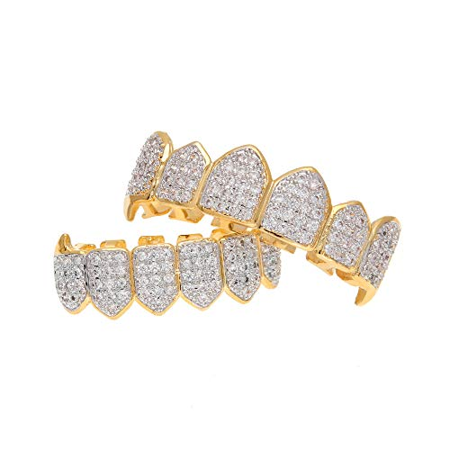 Fiyomet Top Bottom Grillz Set Zähne Hip Hop Golden Crystal Hosenträger Vampire Fang Fang Grillz Set