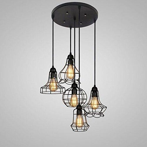 BAYCHEER Lampe Suspensions Lustre Abat-jour en Métal Style Cage Rétro Industriel Eclairage Decoratif 5 Light