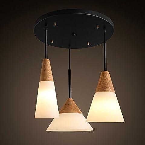 TYDXSD Tapa de madera de estilo nórdico lámpara moderna minimalista comedor restaurante té shop Hot Potatoes pequeño candelabro , p3742/43/44+ round ceiling