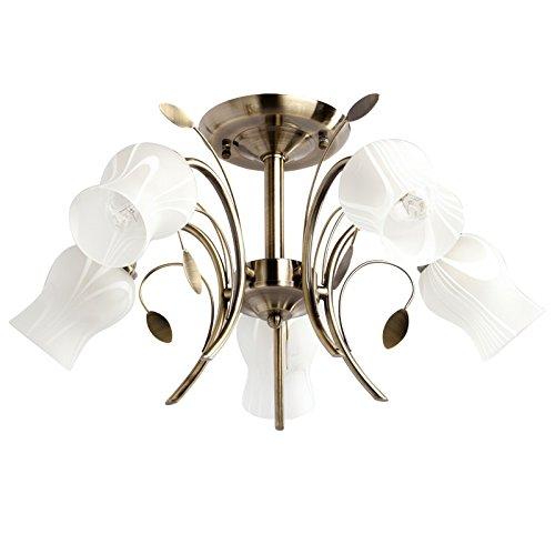 Lampadario rustico in metallo colore ottone anticato copri lampada in vetro bianco stile povera arte in soggiorno salotto o camera da letto e14 5*60w - escl