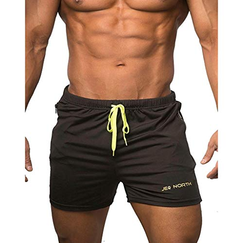 BOLANQ Herrenhosen Sommer, Fashion Herren Solide Strapped Soft Strand Fit Sport Quick Dry Casual Shorts Hosen(Medium,Schwarz) - Soft Tweed Hose