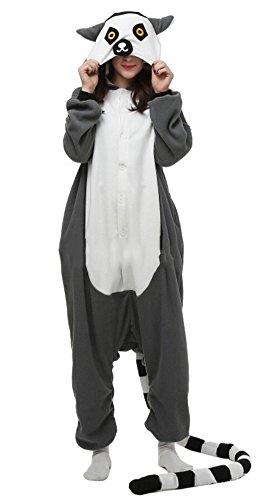 Fandecie Pyjama Tier Onesies mit Kapuze Erwachsene Unisex Cospaly Schlafanzug Halloween Kostüm Lemur Catta Geeignet für Hohe (Kostüm Halloween Lemur)