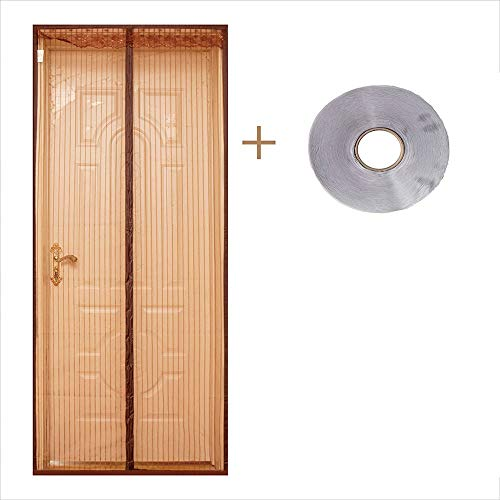 Magnetische Fliegenschutztür (Silent Magnetic Door) Polyester-Magnetvorhang Magic Paste Curtains Super Quiet Stripes Encryption 120 x 210 cm, braun -