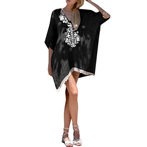 Supertong Damenmode Sommer V-Ausschnitt Boho Lose Strandkleid Vintage Baumwolle leinen gedruckt fransen Strand Party Kleid Lässig cocktailkleid