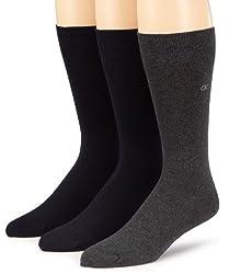 Calvin Klein Mens 3 Pack Combed Flatknit Socks, Navy/Graphite Htr, 7-12