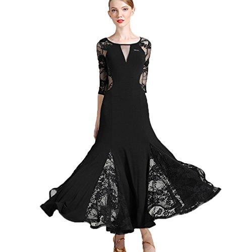 nz-Outfit Für Frauen Trainieren Performance Sexy Rückenfrei Moderne Walzer Tango Spitze Tanzkleider, Black, L (Tanzsport Kostüm Muster)