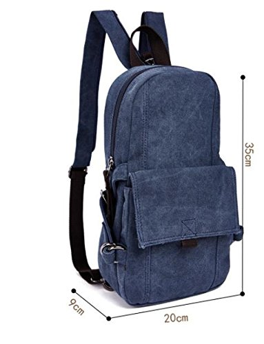 &ZHOU Borsa di tela, Tendenze moda multiuso per uomini e donne zainetto zaino zaino del turismo, petto bag borsa a tracolla in tela , khaki deep blue