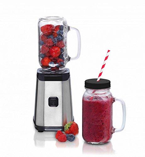 Melissa Smoothie Maker mit Mason Jar 500 ml, Stand-Mixer für Milchshakes und Smoothies 320 Watt mit 3 x Glaskrug und Strohhalm