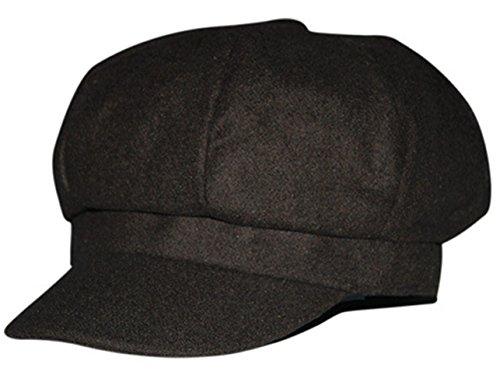 Lawevan Unisex Women Men Worsted Winter Octagonal Flat Hat Noir