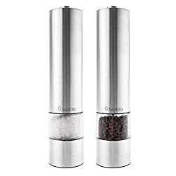 Savisto Illuminated Electronic Stainless Steel Salt & Pepper Mill Set with Adjustable Grinder - Silver