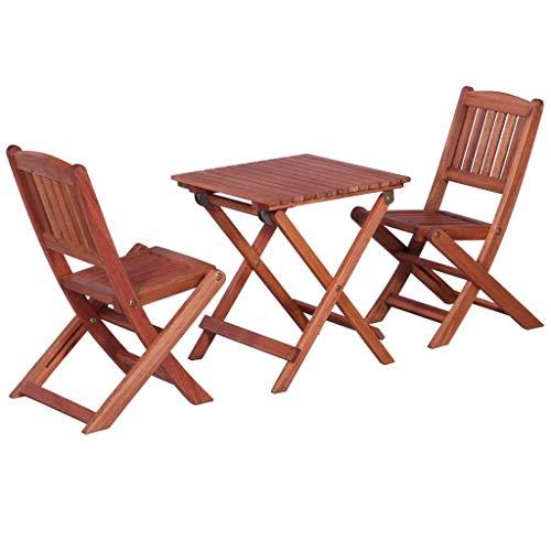 Tidyard- Gartenmöbel Bistro-Set Mit,Garten Garnitur Sitzgruppe aus Holz-3-teilig -1 Tisch+2 faltbaren Stuhl,Eukalyptusholz Massiv - 3-teiliges Set Kaffee-tisch