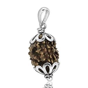 Arihant Gems & Jewels 3 Mukhi India Rudraksha Silver Pendant for Men and Women