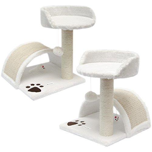 Eyepower Katzenkratzbaum Cindy Weiß 44 cm Sisal Plüsch Katzen Kratzbrett Tier-Spielzeug 1 Stück