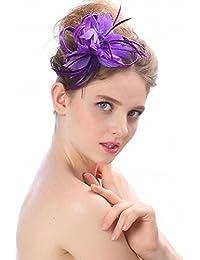 mjl Sombrero - Damas Otoño e Invierno Tocado Sombreros de Novia Europeos y Americanos British Elegante Fotografía de la Boda apoyos Pluma Horquilla Sombrero de Banquete,7,12 * 8 * 7 cm