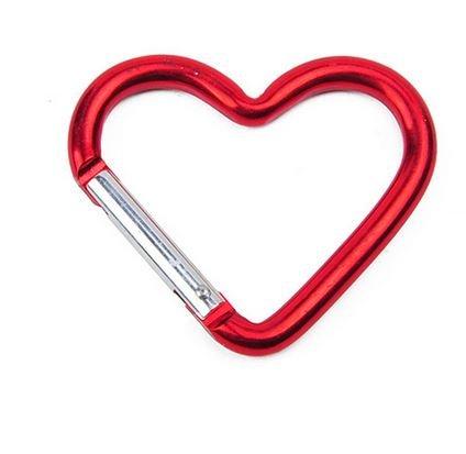 Marwotec Verbindungselemente 20 Stück Karabiner - Aluminium - Herz Form Karabiner in Rot Schlüsselanhänger Karabinerhaken Zubehörkarabiner -