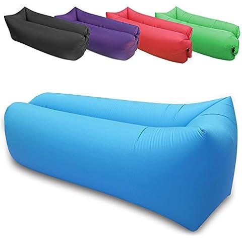 FOCUS AZ Cuscino Gonfiabile, Hangout Sedia Relax, Divano, Amaca e divano–In tessuto di nylon per esterni o interni Air Sleeping–Campeggio e spiaggia mobili Bean Bag, blu