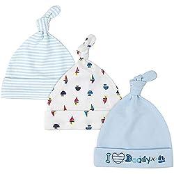 LACOFIA Sombrero de Beanie de algodón para bebé niñas y niños de recién Nacido Unisex Gorro Nudo de Las bebé de Esencial 3 Piezas 002