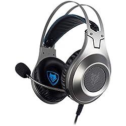 WANY Jeu Casque Casque Filaire Microphones d'ordinateur Réduction du Bruit Anti-interférence électromagnétique-Silver