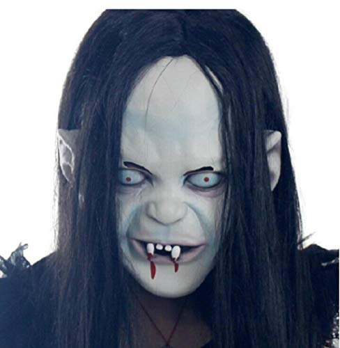 ZAC&LJai Unheimlich Vampir Maske, Haar, Sixcup Adult Bloody Horror, Halloween Kostüm Maske, Zombie Zerfallende Blaue Zombie Latex - Weibliche Dead Clown Kostüm