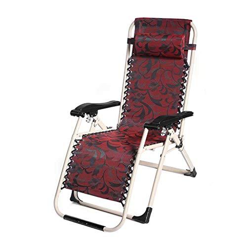 Chaises de Pont inclinables de Chaise de Pliage de gravité zéro Garden Beach Chaises Longues Relaxer Portable Red